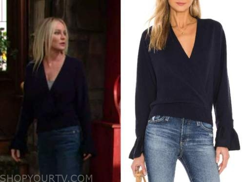 sharon newman, sharon case, the young and the restless, navy blue wrap sweater