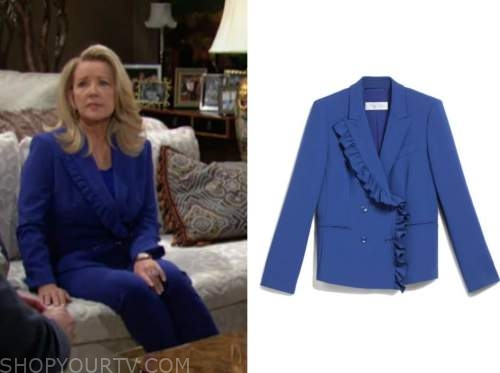 nikki newman, melody thomas scott, blue ruffle blazer, the young and the restless