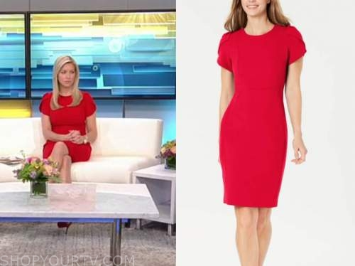 ainsley earhardt, fox and friends, red puff sleeve dress