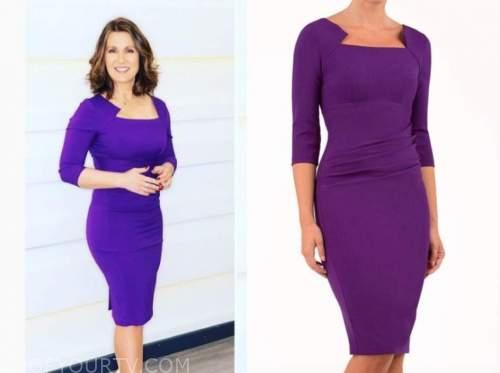 susanna reid, good morning britain, purple pencil dress