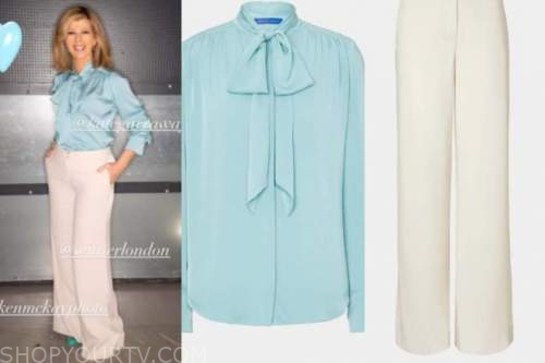kate garrawy, good morning britain, blue tie neck blouse, ivory pants