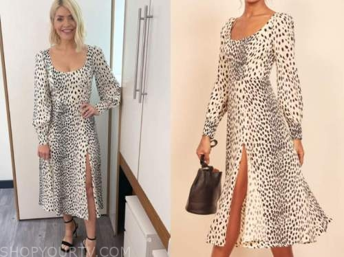 holly willoughby, this morning, cheetah midi dress