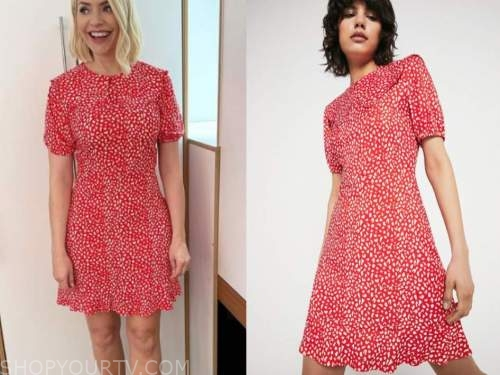 holly willoughby, this morning, red printed mini dress