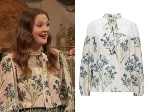 drew barrymore, drew barrymore show, ivory floral lace tie neck blouse