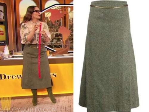 drew barrymore, drew barrymore show, green chain skirt