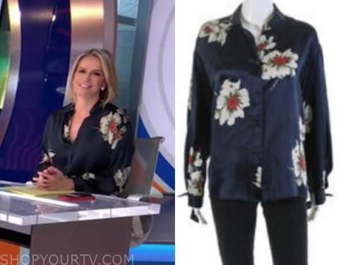 dr. jennifer ashton, good morning america, gma3, navy blue floral blouse