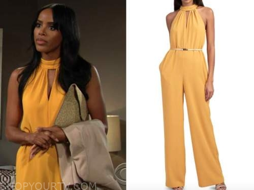 imani benedict, Leigh-Ann Rose, the young and the restless, yellow jumpsuit