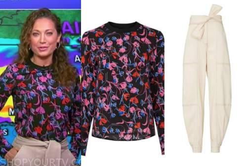 ginger zee, good morning america, floral top, ivory pants