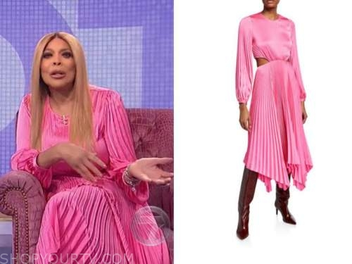 wendy williams, the wendy williams show, pink pleated cutout dress