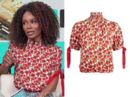 zuri hall, access daily, floral mock neck top
