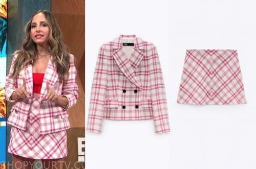 lilliana vazquez, E! news, daily pop, red and white check blazer and skirt