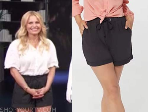 candace cameron bure, black shorts, access daily