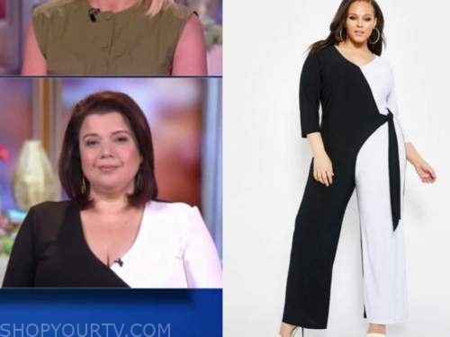 ana navarro, the view, black and white colorblock wrap jumpsuit