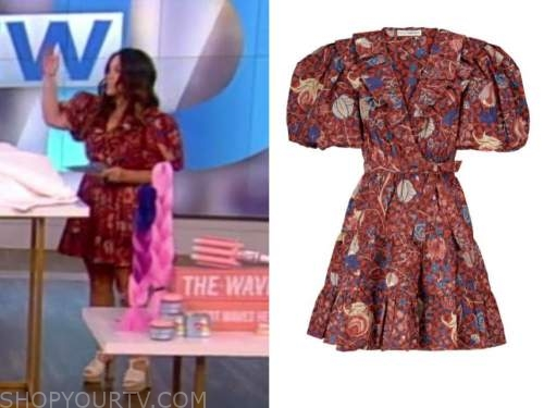 gretta monahan, the view, red ruffle printed dress