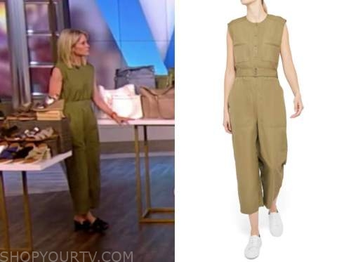 sara haines, the view, green cargo jumpsuit