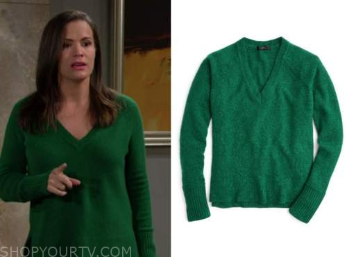the young and the restless, chelsea newman, melissa claire egan, green v-neck sweater