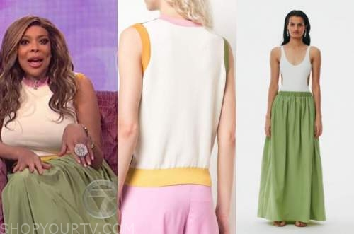 wendy williams, the wendy williams show, colorblock top, green skirt