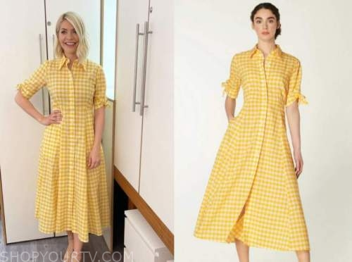holly willoughby, this morning, yellow gingham shirt dress