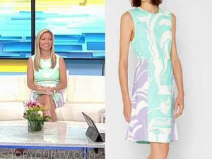ainsley earhardt, fox and friends, mint green and purple printed sheath dress