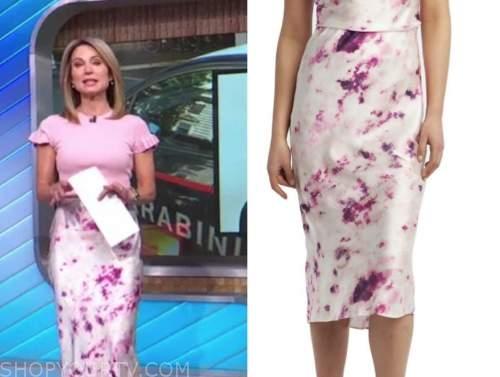 amy robach, good morning america, purple tie dye satin skirt
