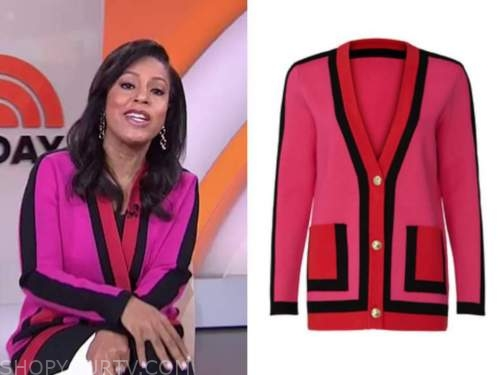sheinelle jones, the today show, pink and black colorblock cardigan sweater