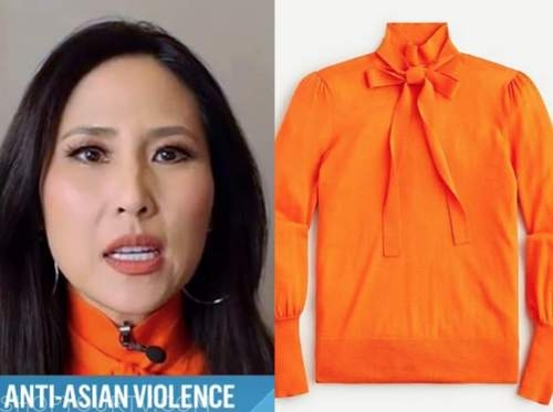 vicky nguyen, the today show, orange tie neck sweater