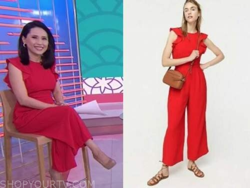 vicky nguyen, the today show, red ruffle jumpsuit