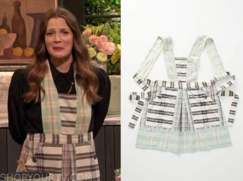 drew barrymore, drew barrymore show, green plaid apron