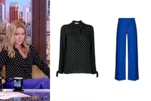 live with kelly and ryan, kelly ripa, black polka dot blouse, blue pants