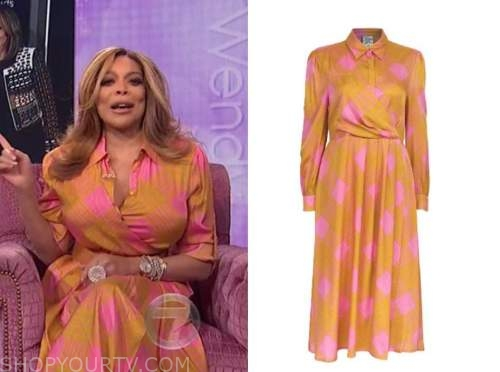 wendy williams, the wendy williams show, orange and pink check dress