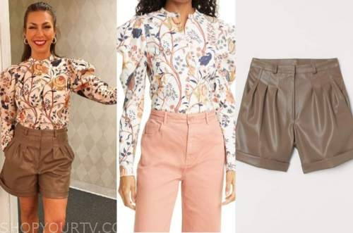 wendy williams show, melissa garcia, white floral top, brown leather shorts