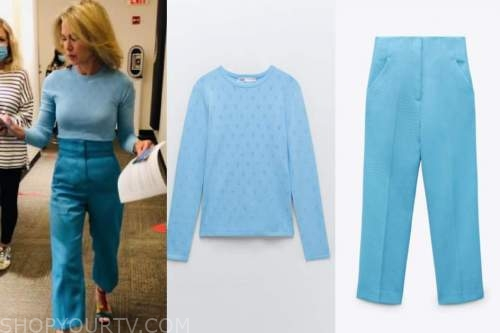 amy robach, good morning america, blue heart sweater, blue pants