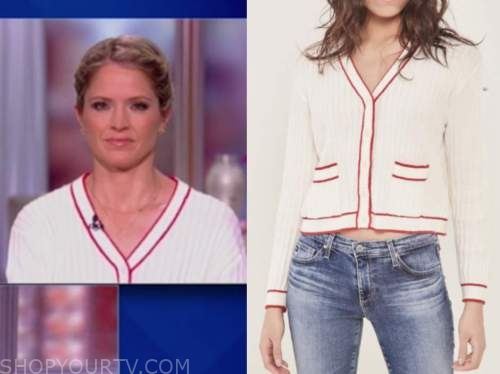 sara haines, the view, ivory contrast trim cardigan sweater