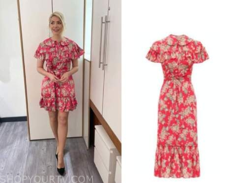 this morning, holly willoughby, pink floral ruffle dress