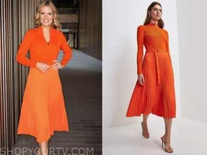 charlotte hawkins, good morning britain, orange knit pleated dress
