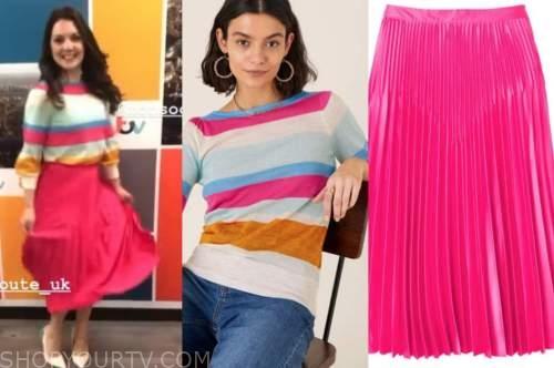 laura tobin, good morning britain, striped jumper, pink pleated skirt