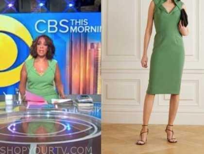 gayle king, cbs this morning, green folded sheath dress