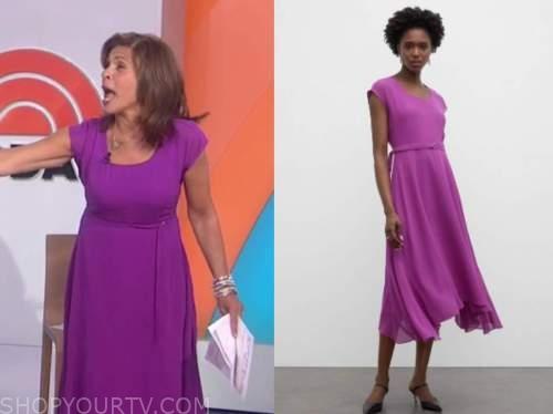 hoda kotb, the today show, purple midi dress