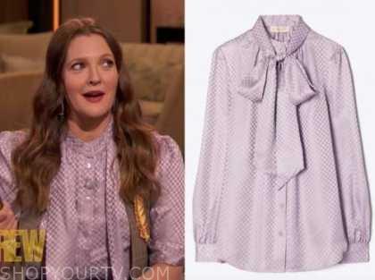 drew barrymore, drew barrymore show, purple tie neck blouse