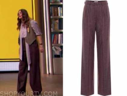 drew barrymore, drew barrymore show, purple belted pants