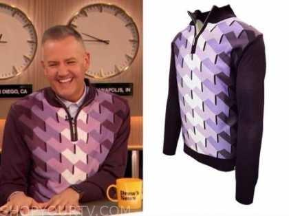 ross mathews, drew barrymore show, purple geometric sweater