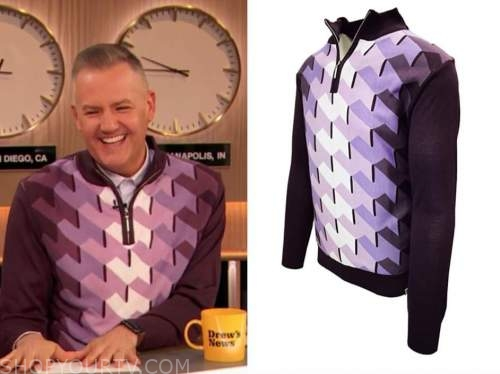 ross mathews, drew barrymore show, purple geometric sweater