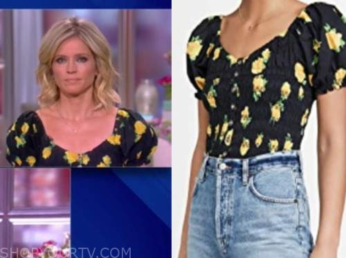 sara haines, the view, black and yellow floral top