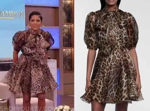 tamron hall, tamron hall show, leopard tie neck dress