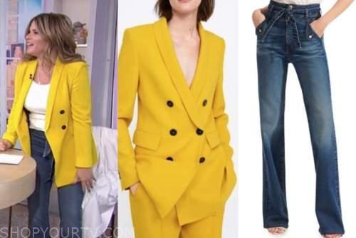 jenna bush hager, the today show, yellow blazer, tie waist jeans