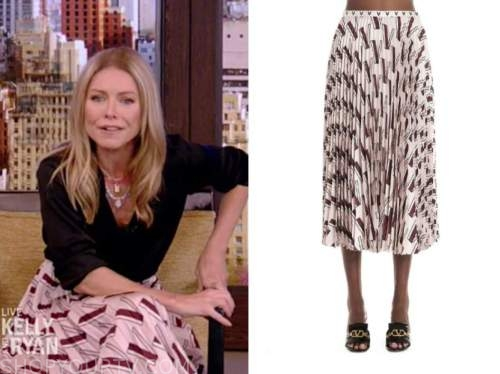 kelly ripa, live with kelly and ryan, pink pleated printed skirt