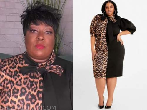 loni love, the real, black and leopard colorblock dress