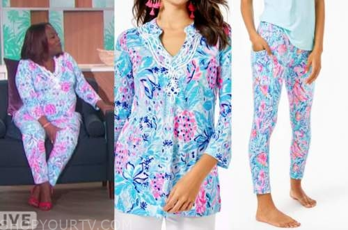 sheryl underwood, the talk, blue and pink tunic top, pants
