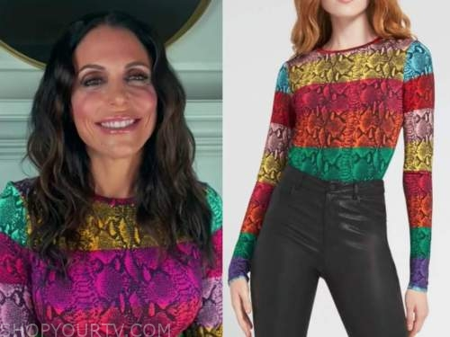 bethenny frankel, the kelly clarkson show, multicolor snakeskin top