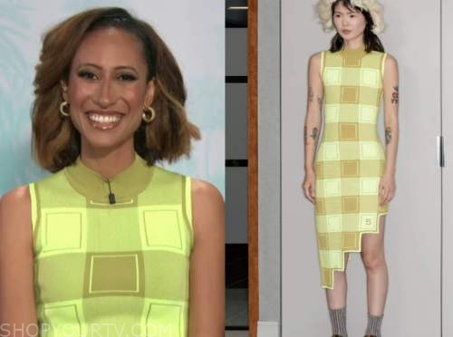 elaine welteroth, the talk, neon green knit check dress